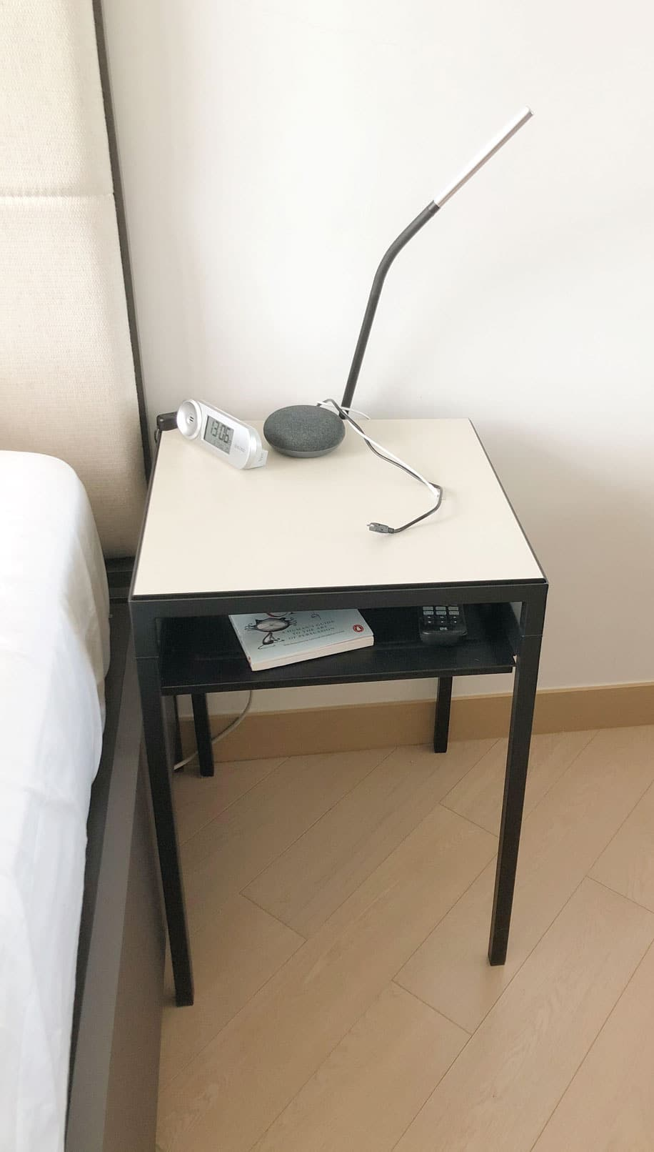 clear nightstand to declutter the bedroom