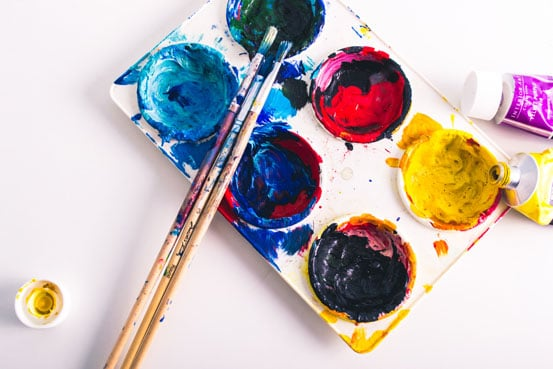 paint and brushes palette find hobbies that you enjoy to deal with stress and anxiety