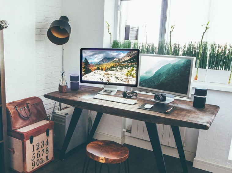 work from home setup with two screens