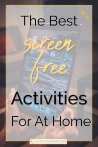 the best screen free activities for at home pin
