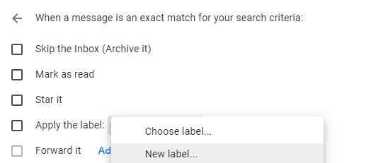 Create new label while making filter gmail