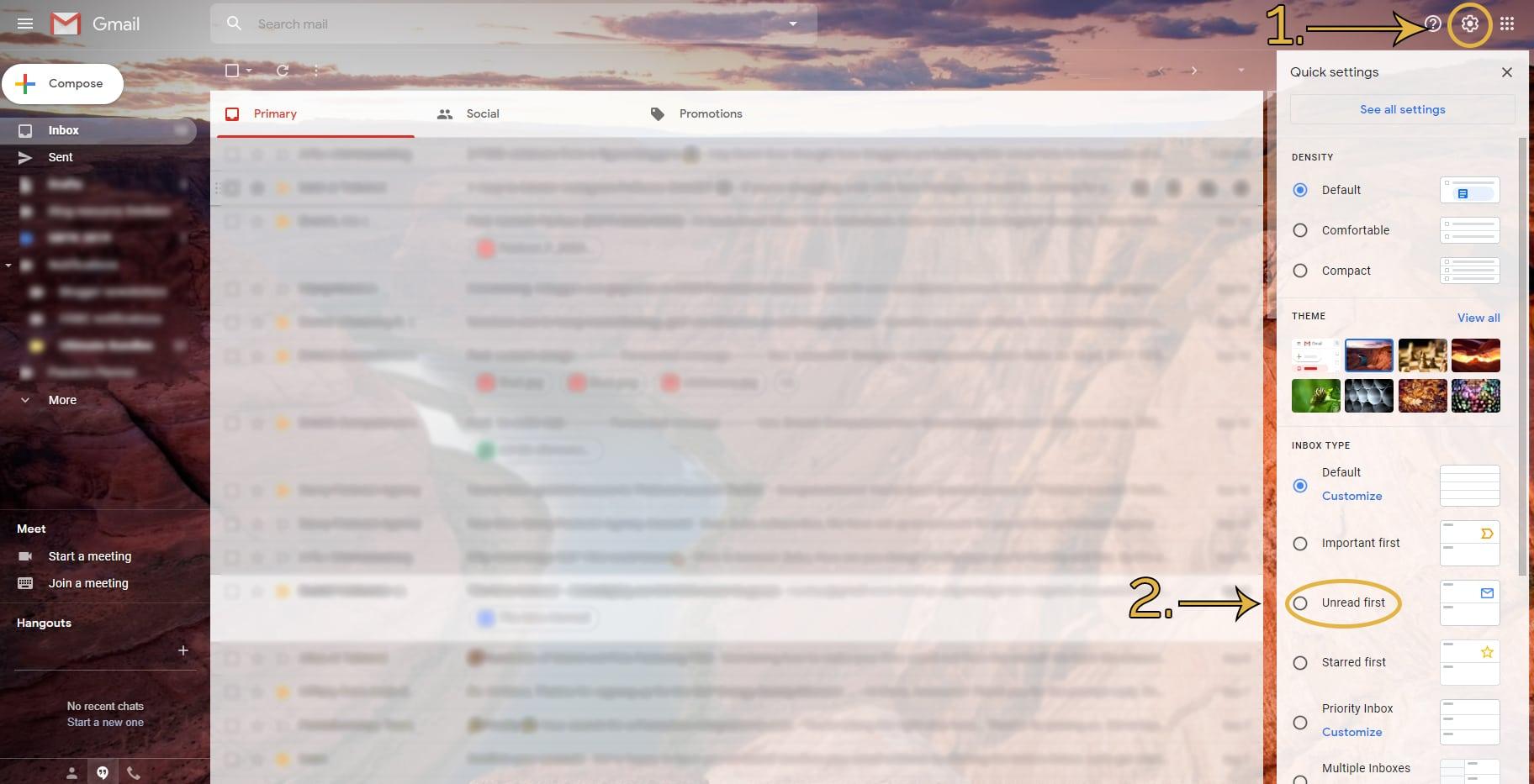 Gmail inbox settings